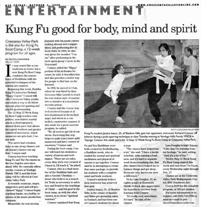 Newspaper article about Kung Fu Bootcamp